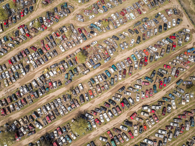 Aerial view of a junkyard in Idaho, USA.