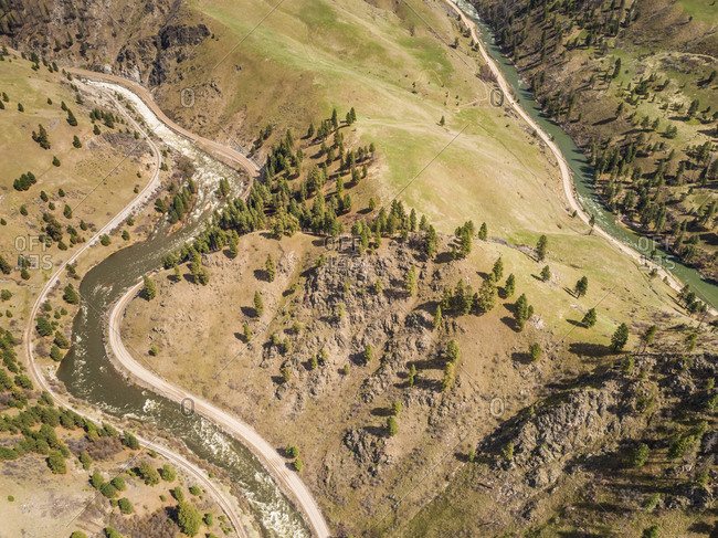 Aerial view of The Payette river in idaho, USA.