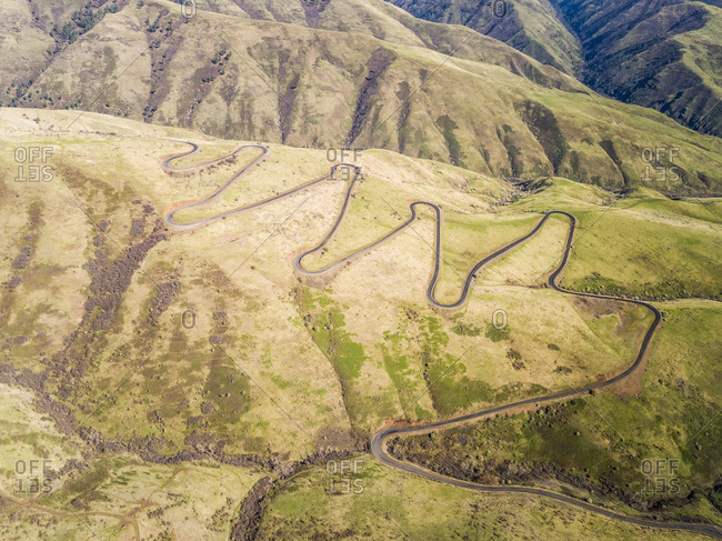 Aerial view of the Old HWY 95 road in White Bird Idaho, USA.