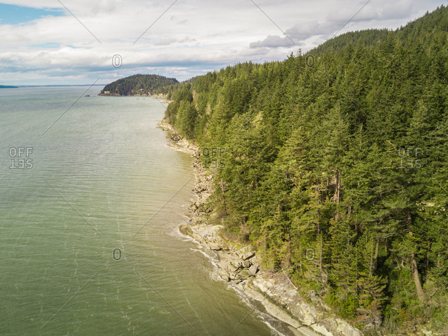 Aerial view of clayton beach, Washington, USA.