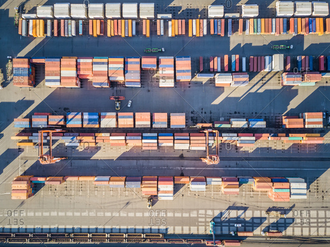 Aerial view of containers in Tacoma harbor, Washington, USA.