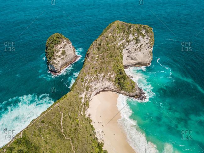 Aerial view of cliff in Nusa penida, Bali, Indonesia.