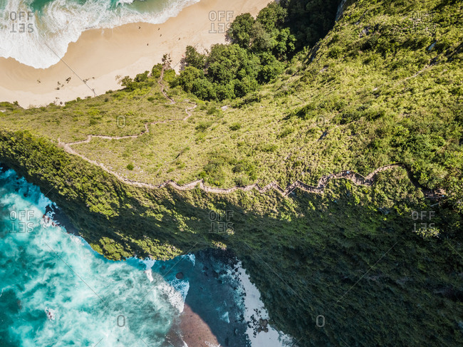Aerial view of cliff in Nusa penida, Bali, Indonesia.