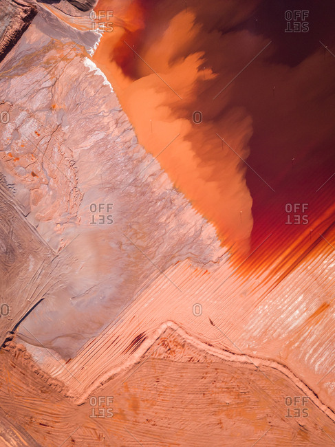 Abstract aerial view of tailings ponds for mining in Western Australia.
