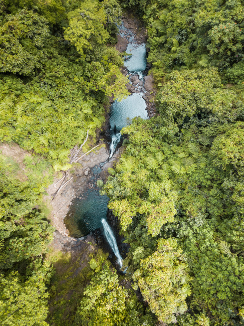 Aerial view of Faarumai waterfall in Tahiti island, French Polynesia.