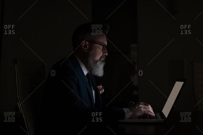 Business executive using laptop