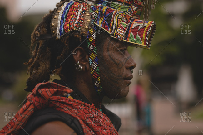 Maasai man wearing beaded headwear