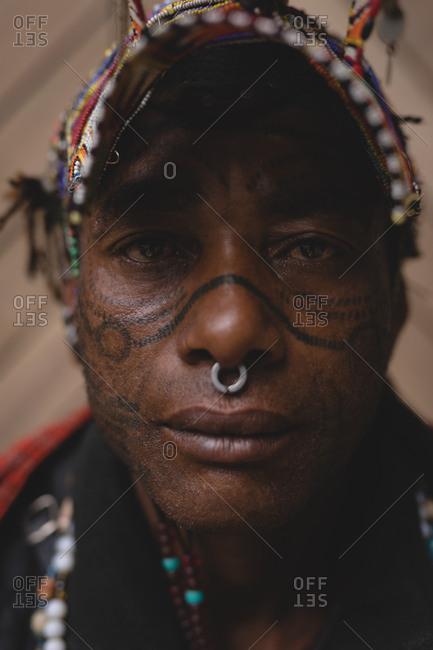Maasai man in traditional clothing