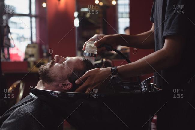 Man getting his hair wash