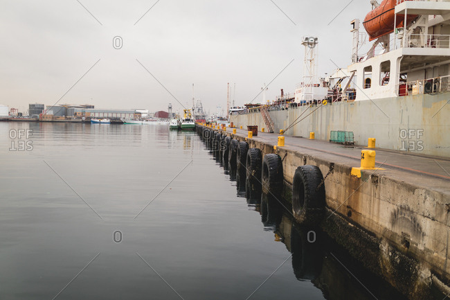 Cargo ships moored in the dockyards