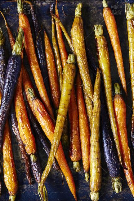 Roasted heirloom carrots baking tray
