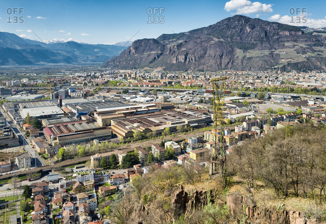 Bolzano, Italy - March 25, 2017: City panorama Bolzano landscape mountains valley