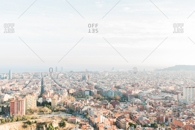 View of the city of Barcelona, Spain from Bunkers del Carmel