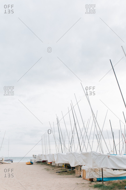 Sailboats being stored on the coast of Spain