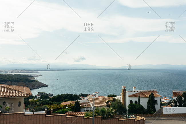 View of the Mediterranean sea over L'Escala, Spain