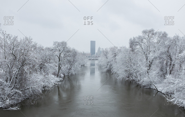 View of river and the city of Pittsburgh in winter