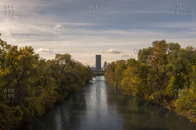 View of river and the city of Pittsburgh in fall
