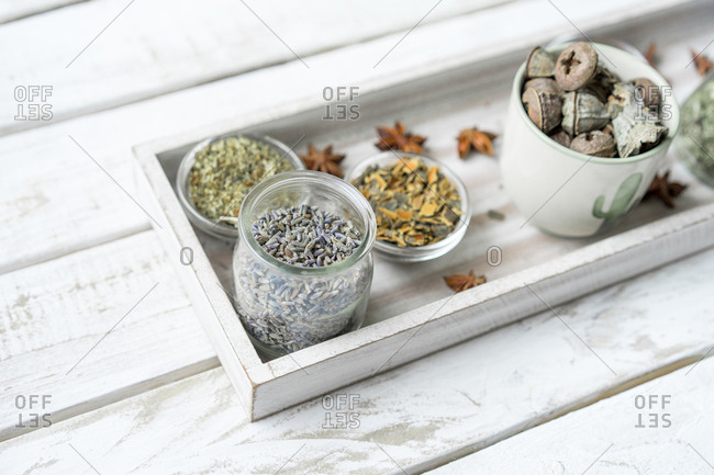 Spices and herbs in arrangement from above
