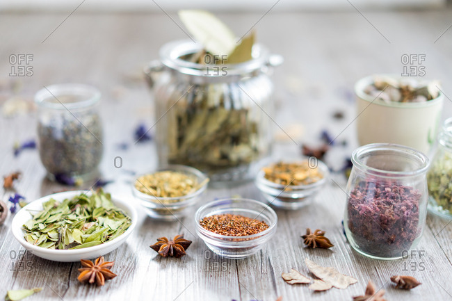 Composition of colorful assorted spices
