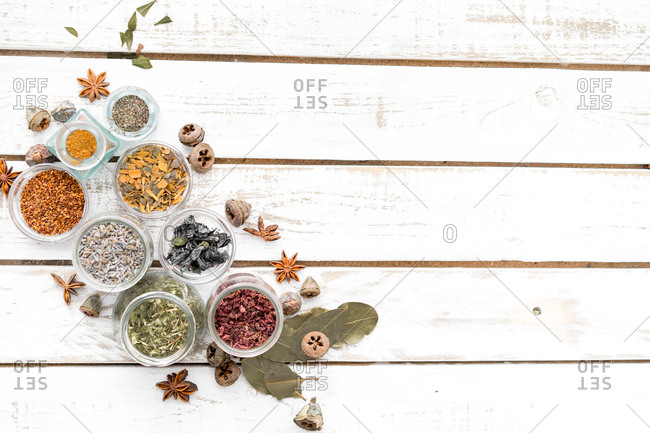 Colorful assortment of spices from above