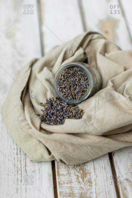 Rustic arrangement of aromatic seeds in jar