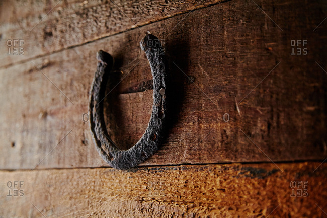 Old metallic horseshoe hanging on wooden door as symbol of happiness