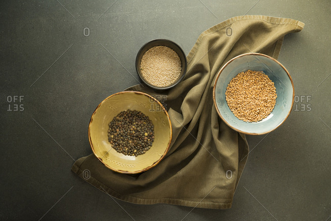 Different spices on napkin