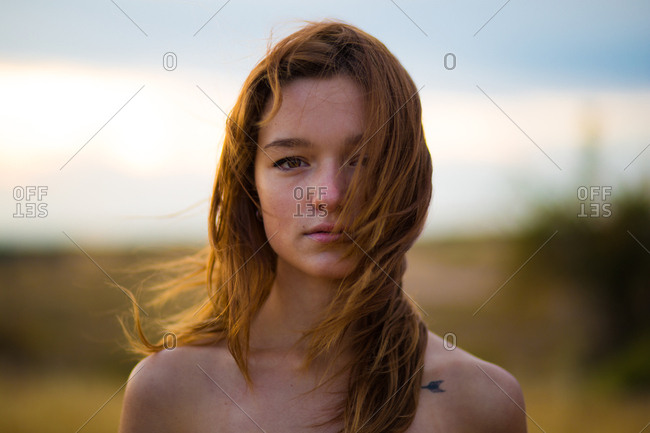 Young sensual woman in nature