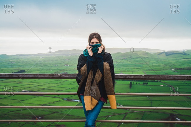 Woman on terrace with amazing panoramic view