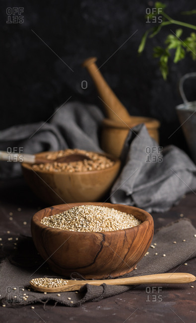 Wooden Bowl full of quinoa. Macrobiotic or vegno with much vegetable protein food