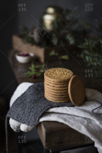 Delicious biscuits cookies on towel
