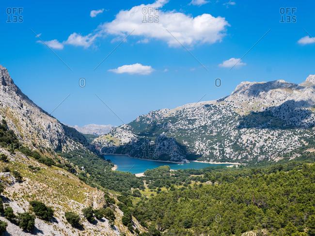 Blue lake in hills
