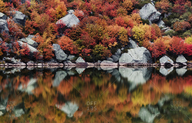 Beautiful autumn trees and stones reflecting in calm lake.