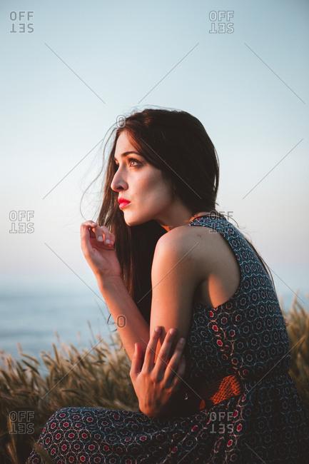 Tender model in field on shoreline