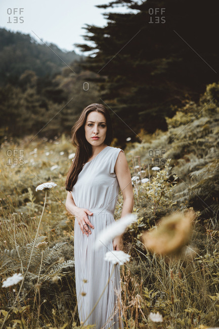 Tender woman posing on nature