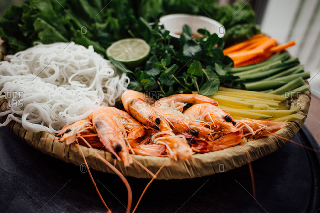 Shrimp, noodles, and other raw ingredients to prepare Vietnamese food