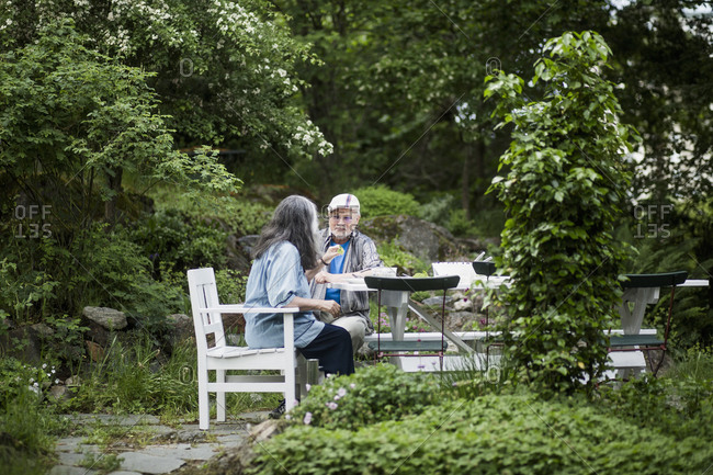 Senior couple having lunch at table in back yard