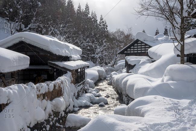 Deep heavy snow creating fairytale Japanese landscape