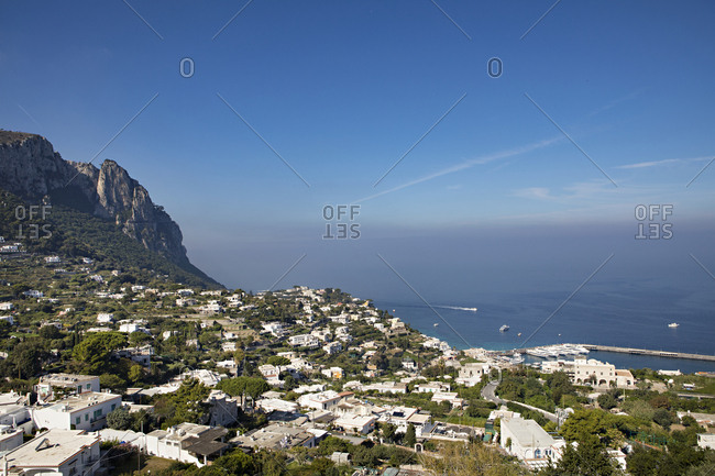 Hillside town on the coast of Capri in Italy