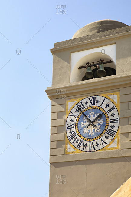 Clock tower in the town of Capri