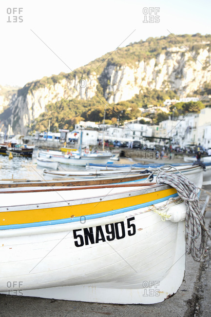 Boats on the coast of Capri in Italy