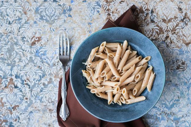 Whole grain pasta in a bowl