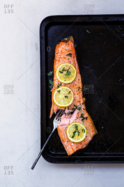 Salmon fillet and lemon slices cut with fork on roasting tray