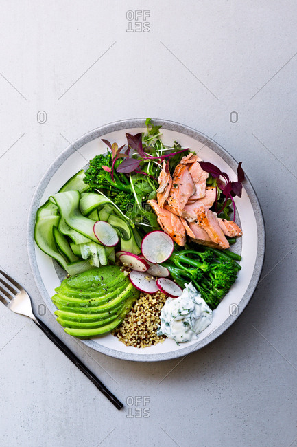 Top down view of Salmon Buddha bowl served on plate