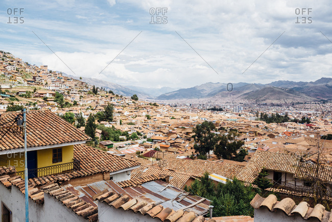View of rooftops in Cuzco cityscape