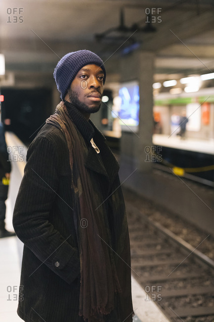African american man waiting at underground station