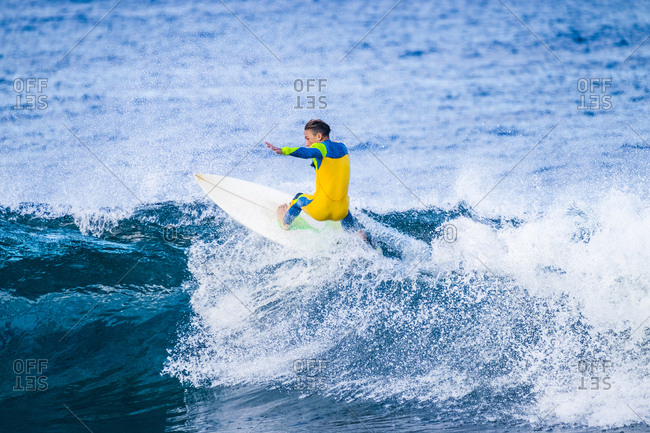 Spain- Canary Islands- Tenerife- surfer