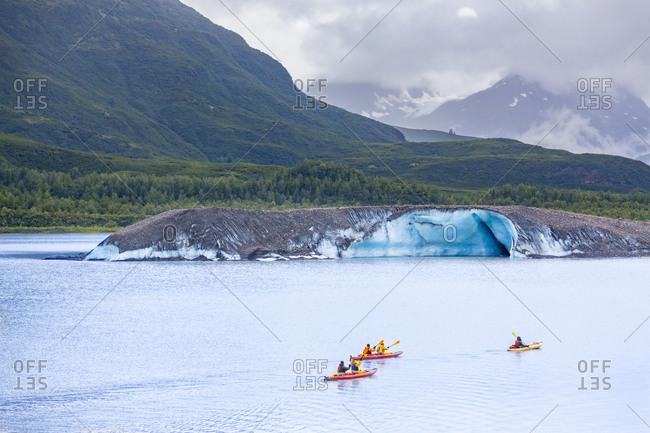 USA- Alaska- kayaks on Valdez Glacier Lake- Valdez Glacier
