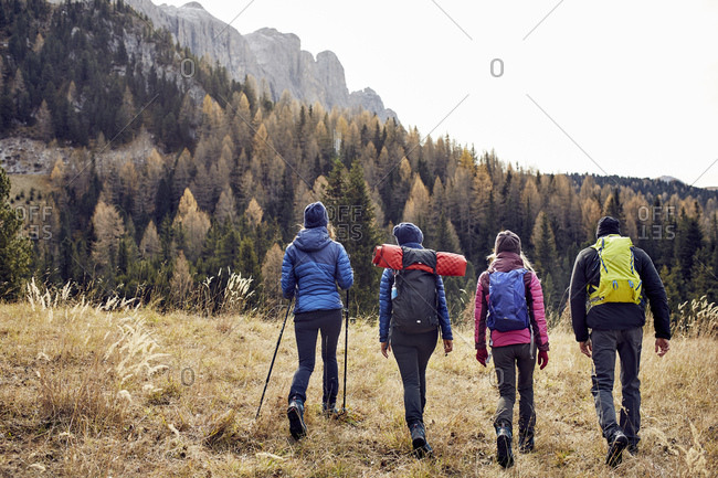 Group of friends hiking in the mountains
