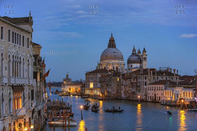 Italy- Veneto- Venice- Gondolas on Grand Canal in front of Basilica di Santa Maria della Salute